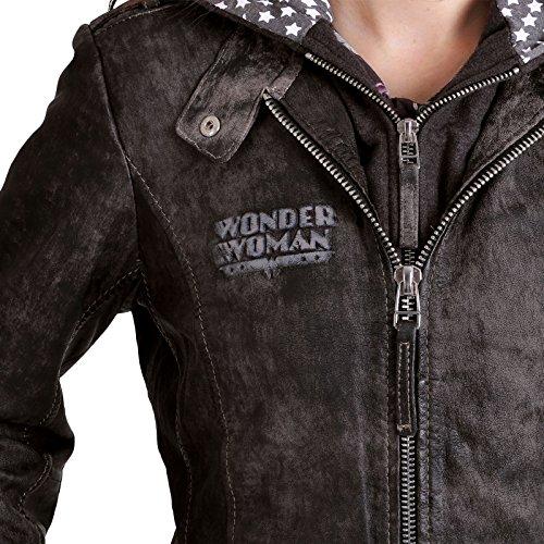 Wonder chaqueta de la mujer Damen Leder con capucha y logo de DC Comics de cuero gris gris