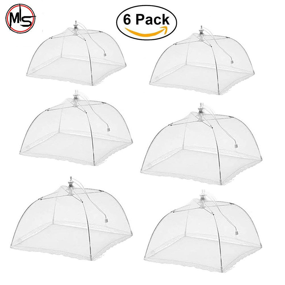 Food Cover Tent, Outdoor Pop-Up Mesh Food Cover, 17 x 17 Screen Tents Protectors for Camping BBQ Party, Foldable Plate Serving Covers Protect from Flies Bugs (White 6)