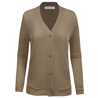 BIADANI Women Button Down Long Sleeve Soft Cardigan Sweater Mocha Large at Women's Clothing store
