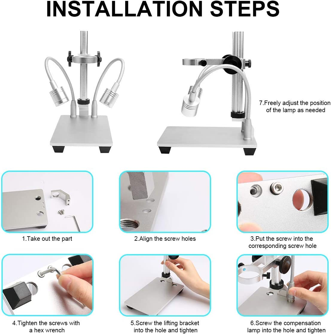 Aluminum Alloy Stand for USB Digital Microscope Camera Bysameyee Universal Adjustable Microscope Metal Stand Base Support Holder Bracket for Max 1.4 Inch in Diameter LCD Screen Microscope Endoscope