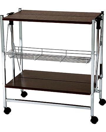 Amazon.com - AZUMAYA Folding Chrome Kitchen Cart Wheels Storage ...