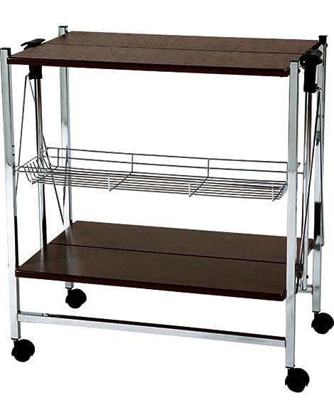 AZUMAYA Folding Chrome Kitchen Cart Wheels Storage Brown PW 314BR KD  Furniture