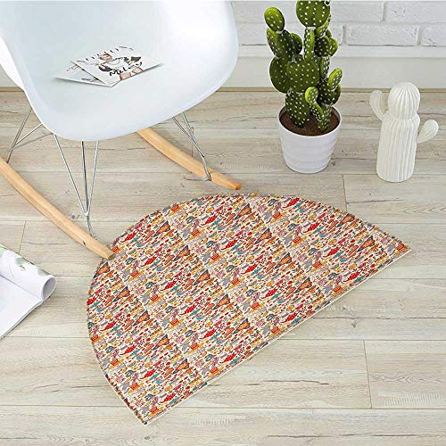 Tea Party Semicircular CushionColorful Abstract Motifs Birds Bunnies Pretzel Sugar Cubes and Flowers Pattern Entry Door Mat H 47.2