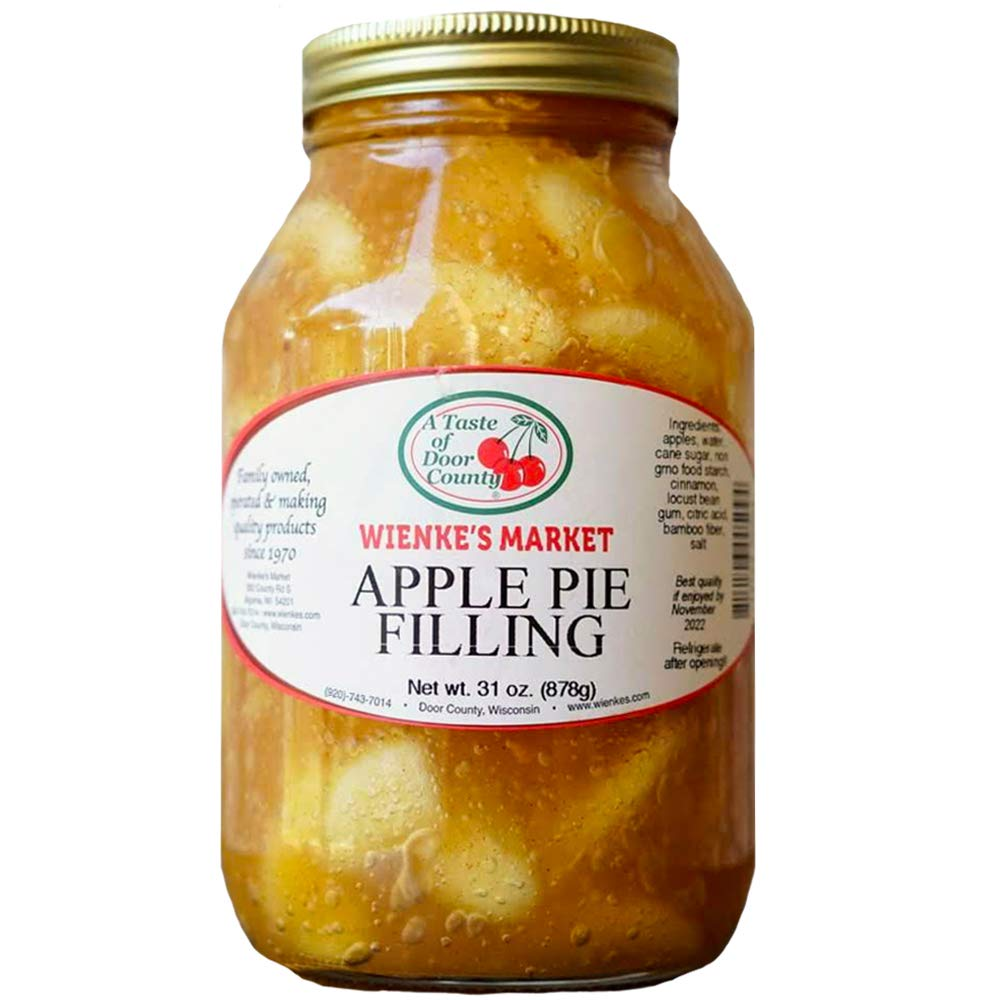 Wienke's Wisconsin Apple Pie Fillings - 32 oz - Quart Jar - Door County Grown Fruit - Vegan Friendly Non-GMO for Pies and Toppings - No Preservatives