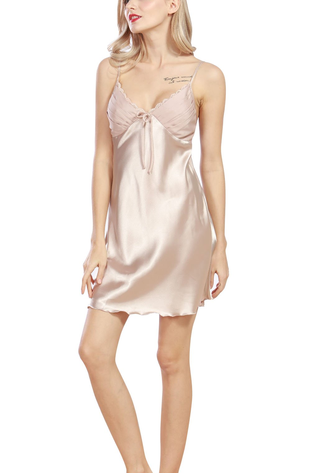 4Ping Women's Spring and Summer Imitation Silk Pajamas Sexy Sling Sleep Dress Beige M