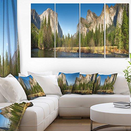 Panorama Landscape (Designart Yosemite Valley Panorama-Landscape Canvas Art Print-48x28-4 Panels, 28'' Hx48'' Wx1'' D 4P, Green)