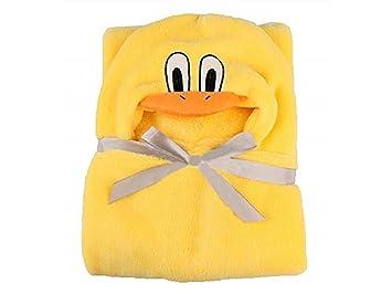 Rosetreee Facecloth cómodo Bebé niño de Dibujos Animados Amarillo Albornoces de Pato con Capucha Toallas de baño-tamaño aproximado 100x70 cm (Amarillo) ...