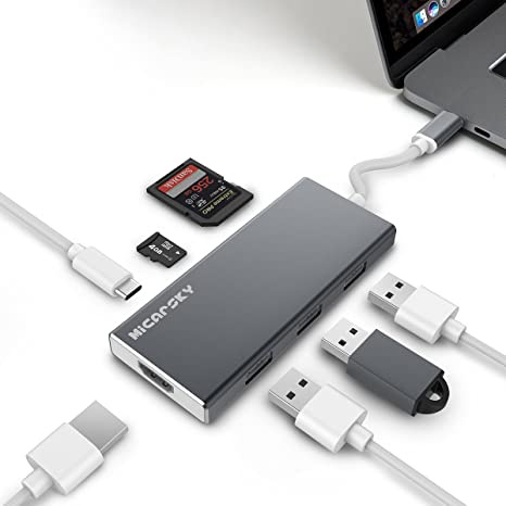 Amazon Com Usb C Hub Micarsky 7 In 1 Type C Hub Adapter To Power