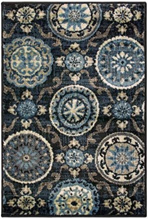 Blue Nile Mills Abner Collection Area Rug, 10mm Pile Height with Jute Backing, Fashionable and Affordable Rugs, Beautiful Scrolling Medallion – 2 x 3 , Black