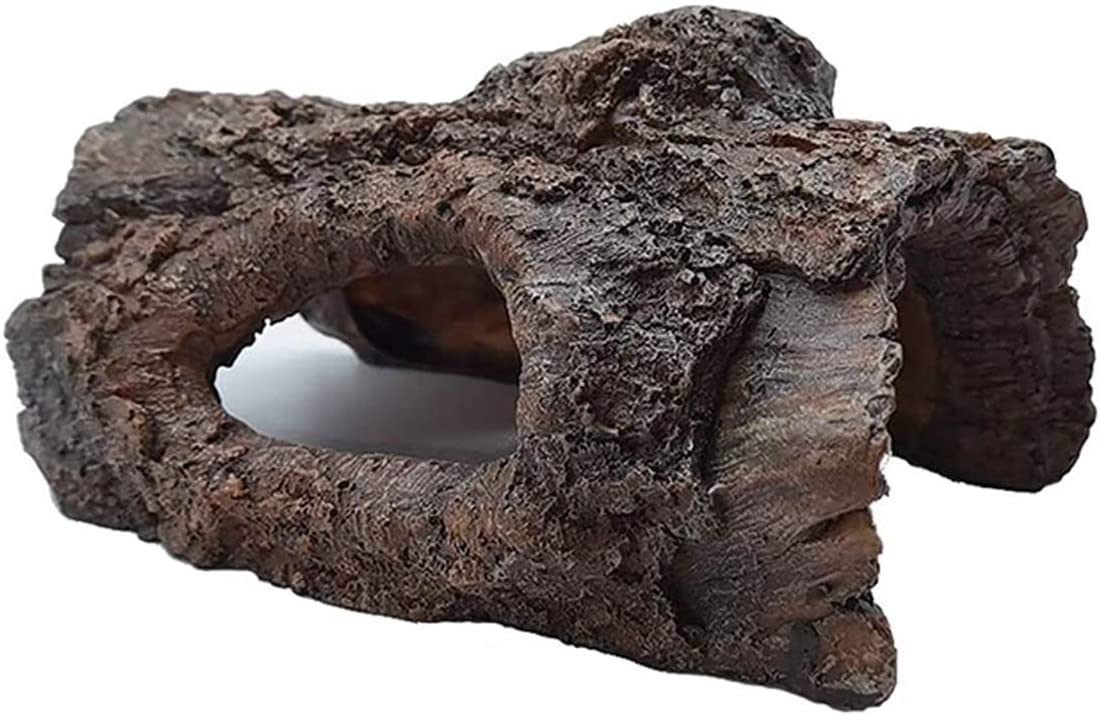 Linifar Aquarium Cave Hollow Tree Trunk, Resin Aquarium Log Decoration Betta Fish Tank Wood Ornament with Hideout Holes for Fish Betta Cichlid Turtle Reptile