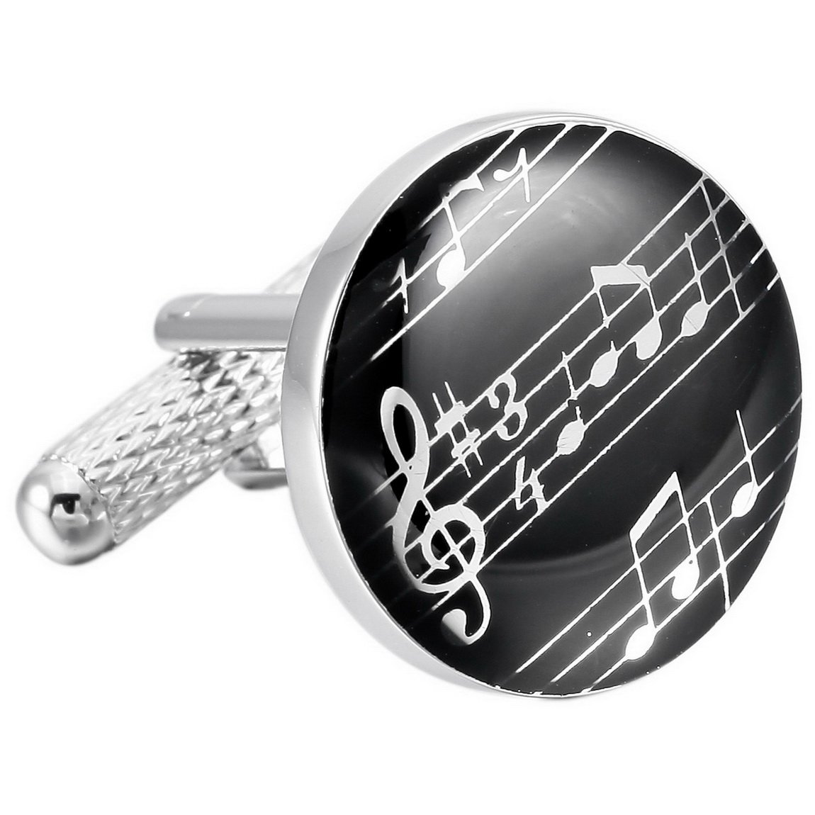 INBLUE Men's 2PCS Rhodium Plated Enamel Cufflinks Silver Tone Black Music Symbol Shirt Wedding INBLUE Jewelry mnv0562