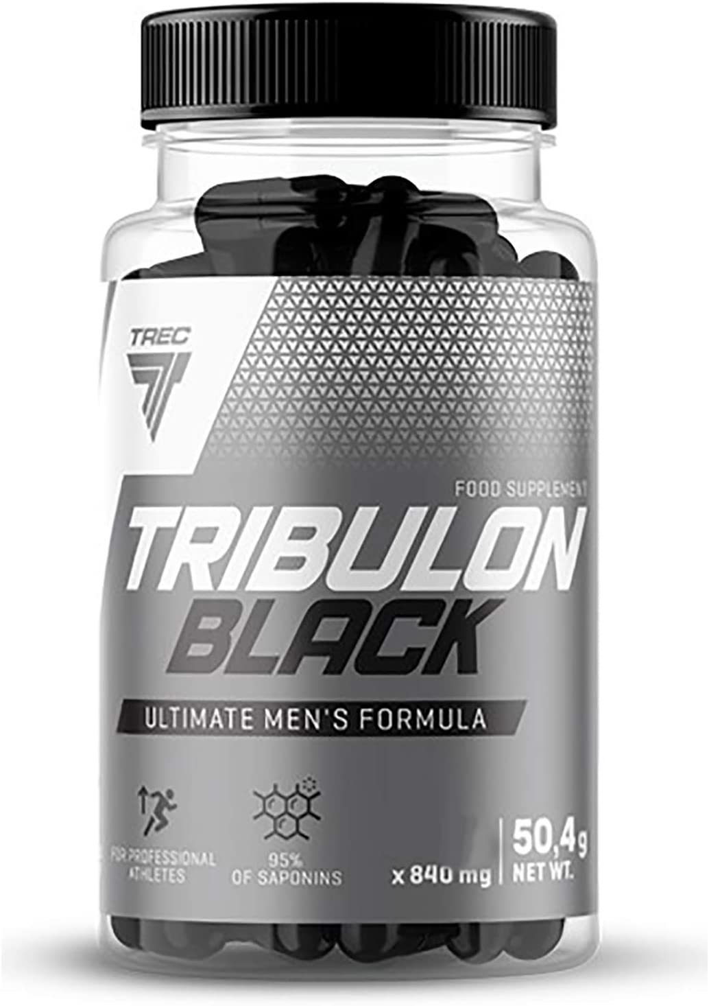 TRIBULON Black - Tribulon Negro - 95% de saponinas bioactivos - Extra Fuerte testosterona Estimulador - TREC Nutrition (60caps / 120caps)