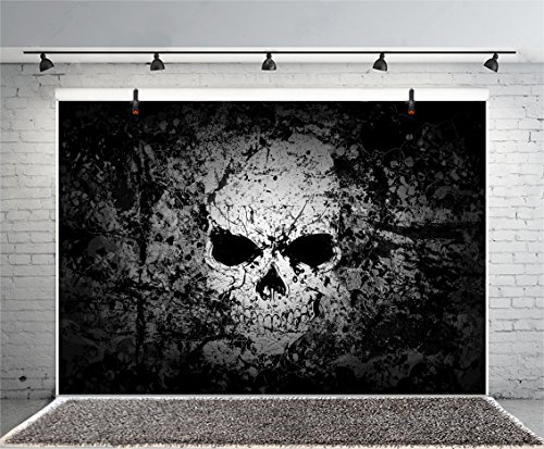 Leyiyi 8x6ft Photography Background Happy Halloween Party Backdrop Gothic Skull Vintage Grunge Wallpaper Ghost Dark Forest Cathy Skull Costume Carnival Night Photo Potrait Vinyl Studio Video -