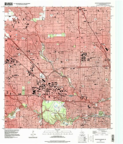 Houston Heights TX topo map, 1:24000 scale, 7.5 X 7.5 Minute, Historical, 1995, updated 1998, 26.9 x 23 IN - - Center Houston City Shopping