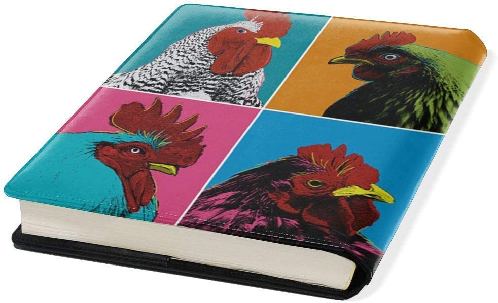 Pop Art Chickens Jumbo Book Covers Leather Book Suits Fits Hardcover Textbooks Up to 9X 11 Durable Washable Reusable School Supply for Students