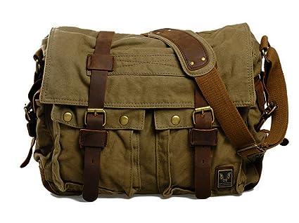 Image Unavailable. Image not available for. Color  Men s Military Unisex s  Classic Canvas Leather Satchel School 14 quot  Laptop Shoulder Messenger ... 1181edfb90