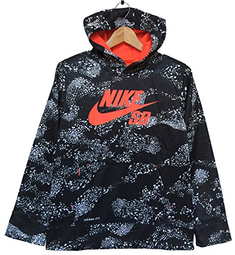 Nike SB Youth/Boys Therma-fit Pullover Fleece Sweatshirt Hoodie, Black/Graphite Pattern, L