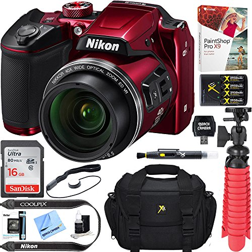 Nikon COOLPIX B500 16MP 40x Optical Zoom Digital Camera w/ WiFi - Red (Certified Refurbished) + 16GB SDHC Accessory Bundle by Beach Camera