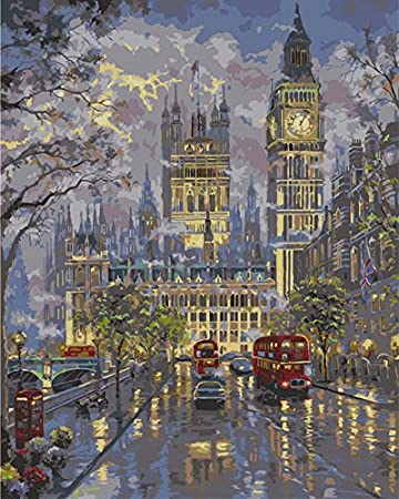 Street Evening Scene 16*20 inches Linen Canvas Paint by Number Kits Digital Oil Painting Canvas Wall Art Artwork Landscape Paintings for Home Living Room Office White Christmas New Year Valentine Decor Decor Diy Oil Painting by Numbers New Release