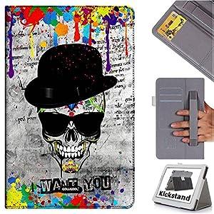 Cowcool(R) ASUS Transformer Book T200TA Folio Non Slip Elastic Hand Strap Dermis Cowhide Leather Card Slot Kickstand Closure Holster Case, Hat Skull Sunglasses I Want You (MD2)