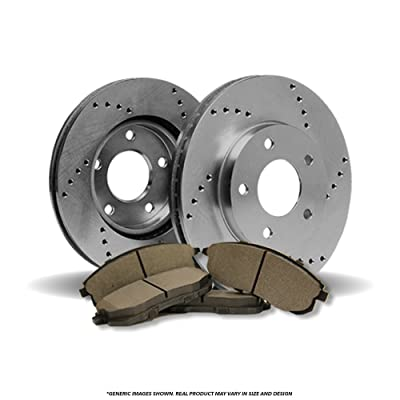 (Front Brake Kit)2 OE SPEC Cros Drilled Brake Rotors & 4 SemiMet Pads (Fits:4lug): Automotive