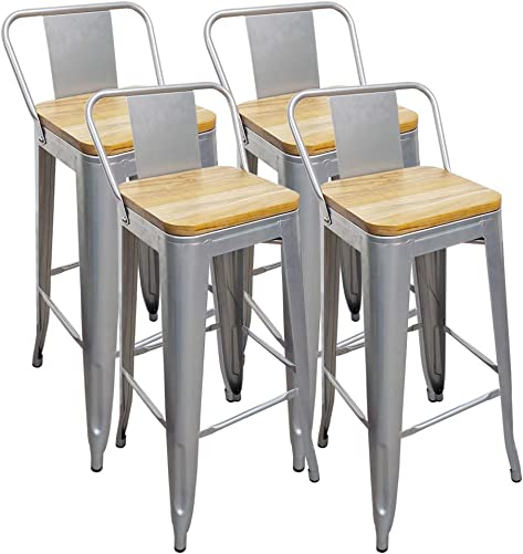 H JINHUI Metal Bar Stools Set of 4, 30 inches Height Industrial Indoor Outdoor Bar Stool Chairs with Wood Seat Backs, Silver