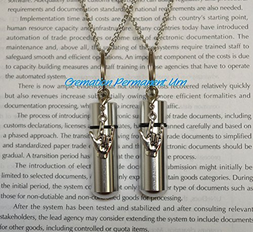 Cremation Permanent Urn Set of 2 COMPLETE Necklace -Silver I Love You CREMATION URN on 24