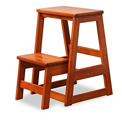 Bon Ladder Chair Solid Wood Stairs Stool Household Creative Two Step Wooden  Ladder Dual Use