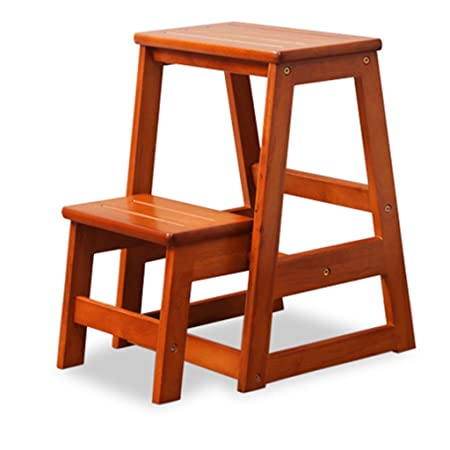 ZCJB Staircase Stool Solid Wood Stairs Stool Ladder Chair Household  Creative Two Step Wooden Ladder