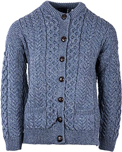 Irish Aran Wool Lumber Jacket Cardigan Sweater (Denim Marl, XLarge)