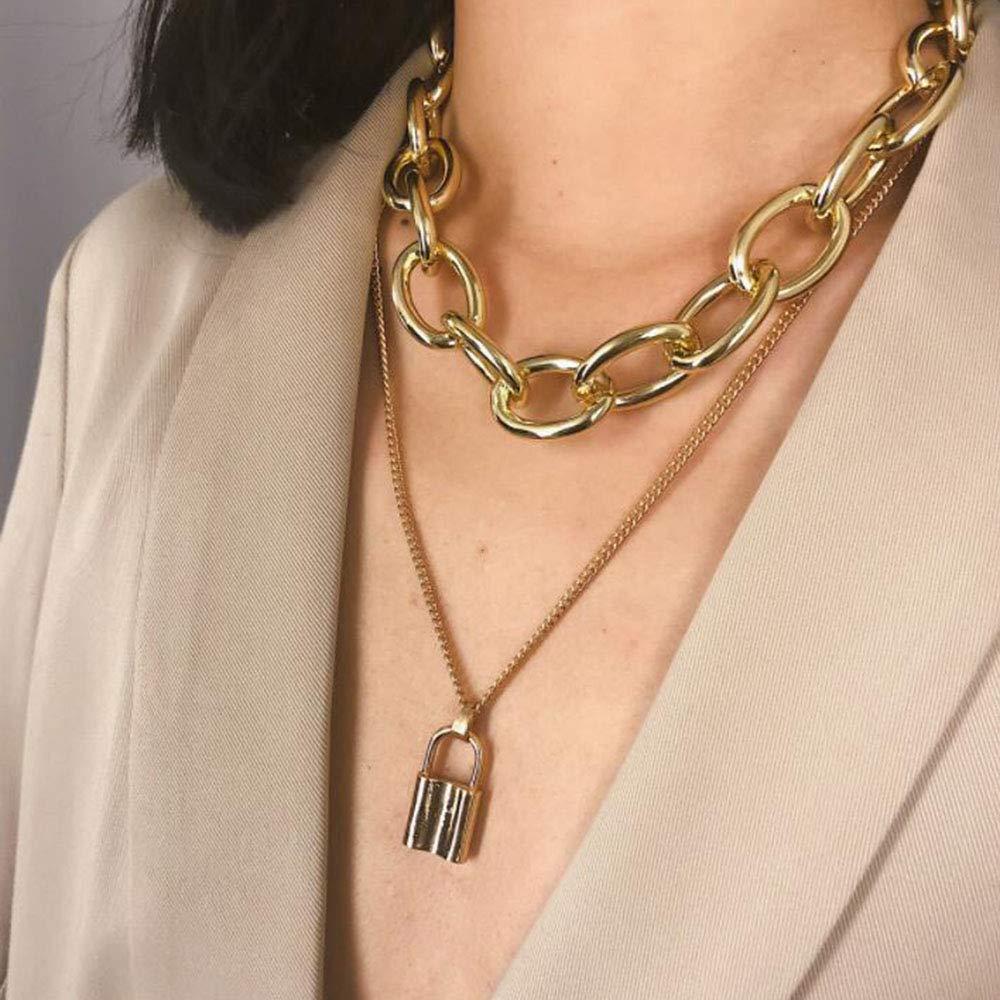 Silver Gold Color Love Heart Pendant Necklace Short Chain Layered Choker DI