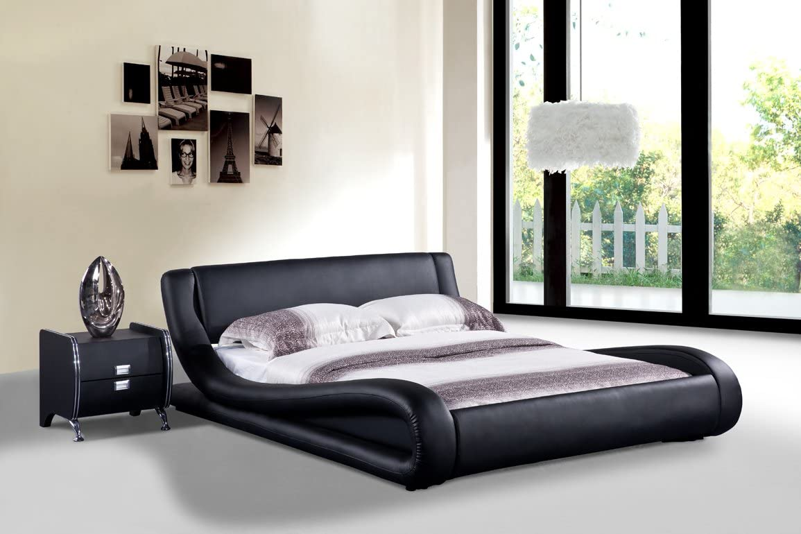 US Pride Furniture Dona Faux Leather Modern Bed, King, Black