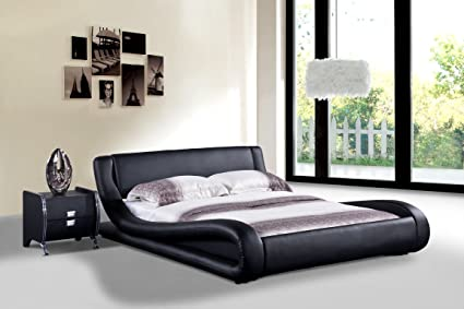 Amazon.com: Dona Black Faux Leather Modern Bed (California King Bed ...