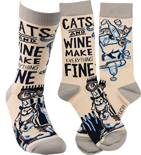 (Primitives by Kathy Unisex Socks - Cats and Wine Make Everything Fine)