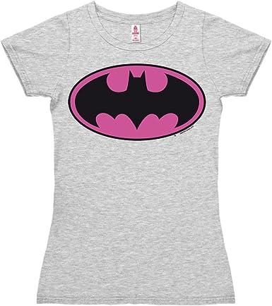 Logoshirt Camiseta para Mujer Batman Logotipo Rosa - DC Comics - Batman Logo (Pink) - de Color - Gris Vigoré - Diseño Original con Licencia: Amazon.es: Ropa y accesorios