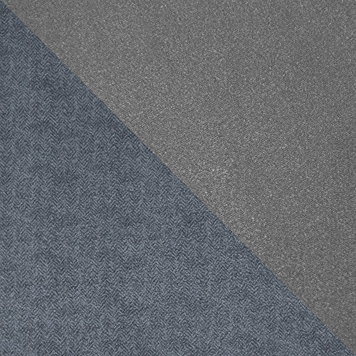 Serta 1 Piece Reversible Stretch Suede T Wingback Chair Slipcover, Steel Gray Herringbone/Gray Solid by Serta (Image #2)