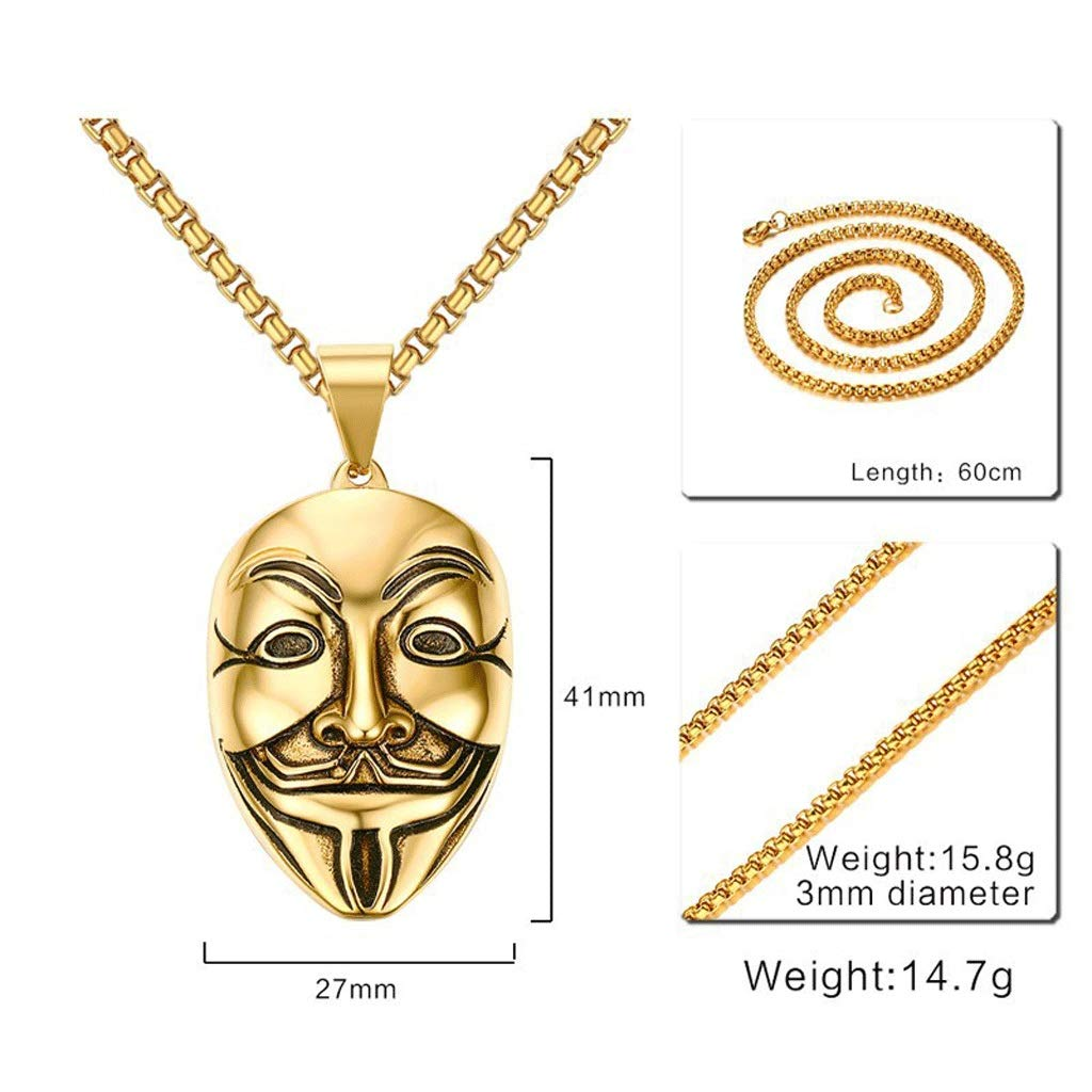 Men Stainless Steel Necklaces Mens Pendant with Chain Gold 24 Inches FQQbb Mens Necklace Pendant Fashion Smiley Mask Pendant