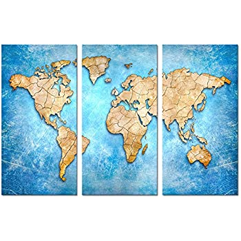 Amazon large size world map canvas prints vintage style large size world map canvas prints vintage style antique blue map of the world wall art decorframed and stretcheddecor for home and office 16x32x3pcs sciox Images