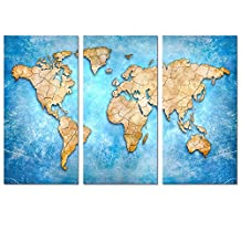 """Large Size World Map Canvas Prints Vintage Style, Antique Blue Map of the World Wall Art Decor,Framed and Stretched,Decor for Home and Office (16""""x32""""x3pcs Blue)"""