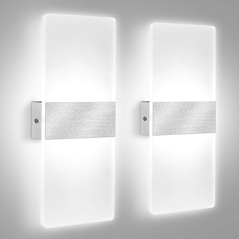 Lovebay 2Pcs Applique Murale Intérieure LED 12W Blanc Froid 6000K, Lampe Murale en Acrylique, Design Moderne Decoration Luminaire Mural pour Salon Chambre Couloir Salle de Bain 29CM (2Pcs Blanc Froid)