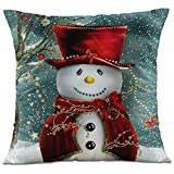 Hangood Soft Flannel Throw Pillow Case Cushion Covers Cover Christmas Snowman 18 x 18 inches
