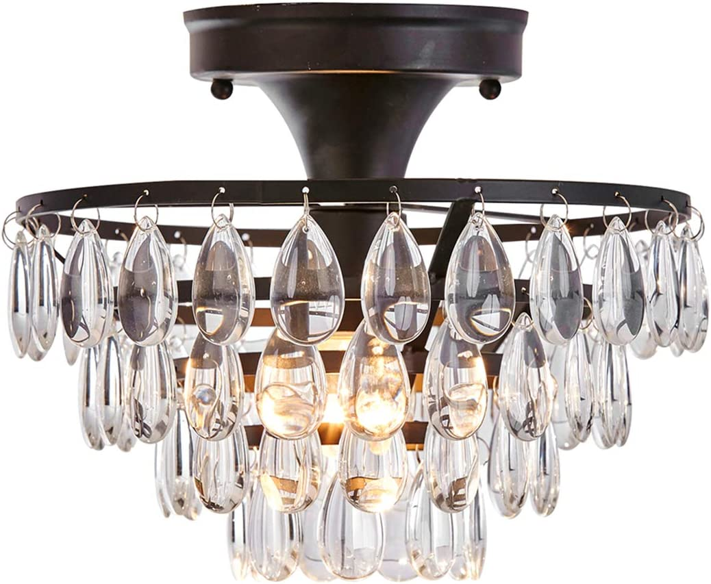 Tayanuc Round Crystal Ceiling Light Crystal Chandelier Flush Mount Light Fixture with Black Metal Crystal Beads for Bedroom Living Room Hallway
