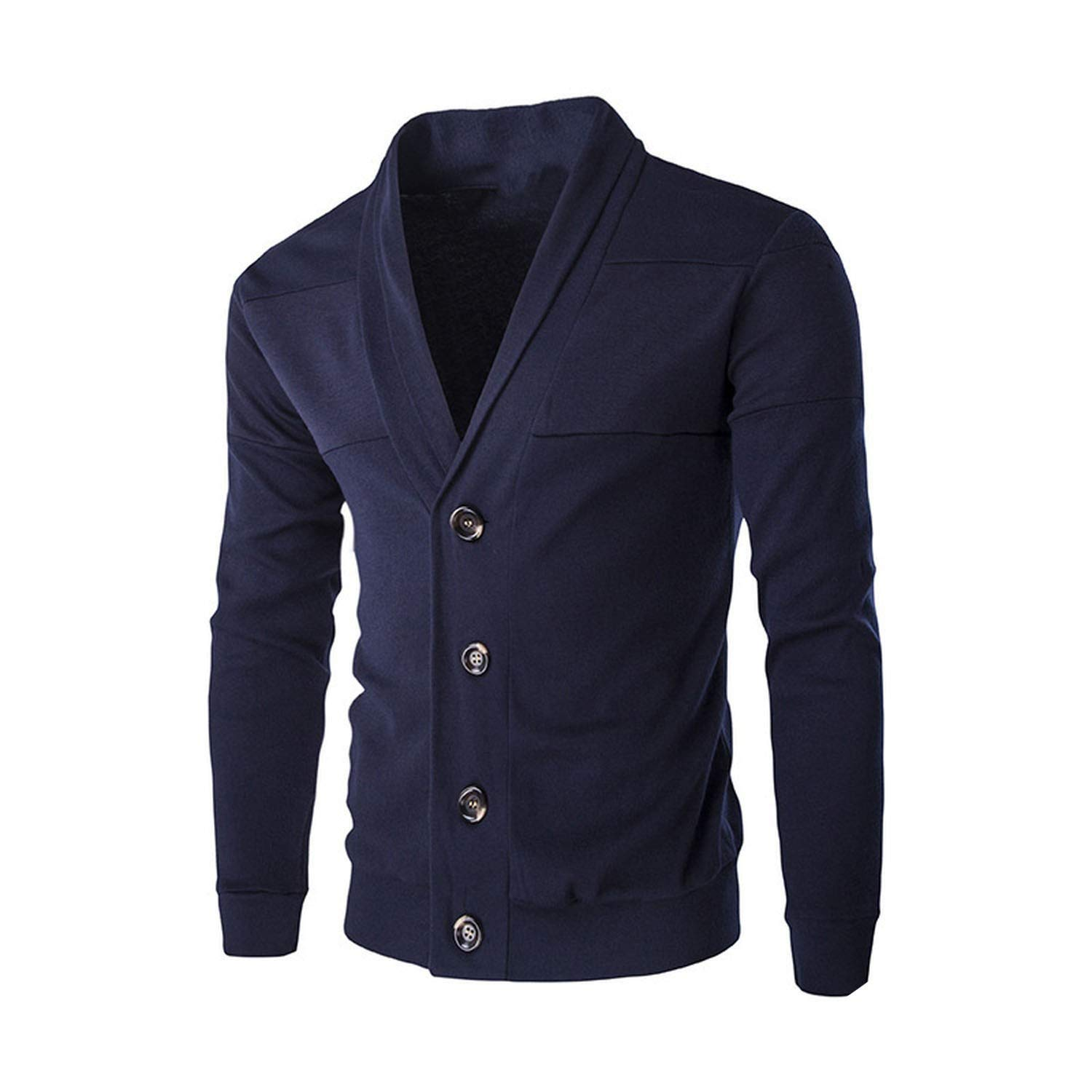 Navy Large 2019 Spring Autumn Men's Sweater Coat Mens Fashion Slim Solid color Single Breasted Cardigan