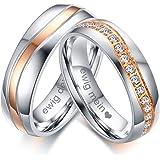 Vnox 2 pezzi in acciaio inox Nome personalizzato AAA + Cubic Zirconia anelli di fidanzamento per le coppie di San Valentino regalo