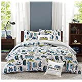4 Piece Novelty Cars Design Coverlet Set Full/Queen Size, Featuring Colorful Embroidered Vehicles Themed Bedding, Fun Playful Road Trip Inspired Boys Bedroom Decoration, Green, Blue, White, Multicolor