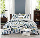 3 Piece Novelty Cars Design Coverlet Set Twin Size, Featuring Colorful Embroidered Vehicles Themed Bedding, Fun Playful Road Trip Inspired Boys Bedroom Decoration, Green, Blue, White, Multicolor