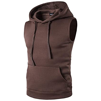 Amazon.com: Hoodies with Hat Men Sleeveless Hip Hop Pullover Fashion Solid Cotton Cap Hoodies 2018: Clothing