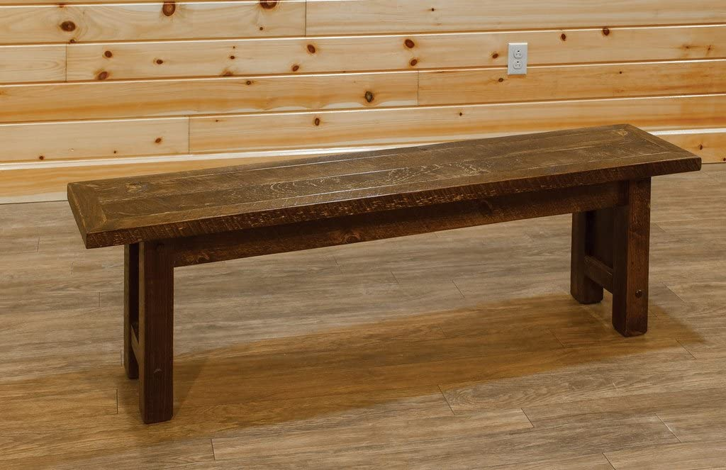 Barn Wood Style Timber Peg 5 Foot Dining Hall Bench – Amish Made USA