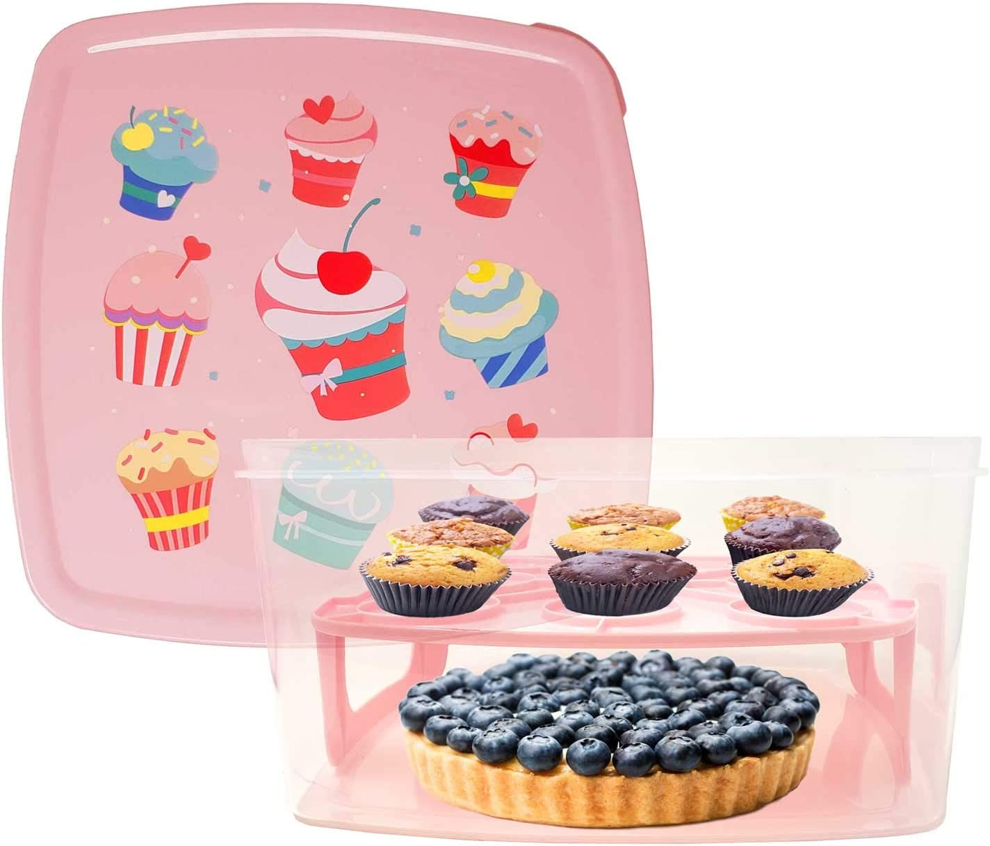 Cake & Cupcake Carrier/Storage Container Holds up to 8 inch 2-layer cake, Pink & Clear - Transports Cakes, Pies, Muffins or Other Desserts - Freezer & Dishwasher Safe