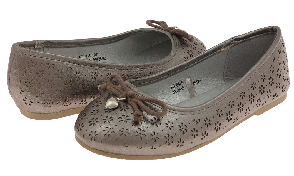 Capelli New York Girls Daisy Perforated Faux Leather Flat with Bow & Heart Charm Pewter Grey 2